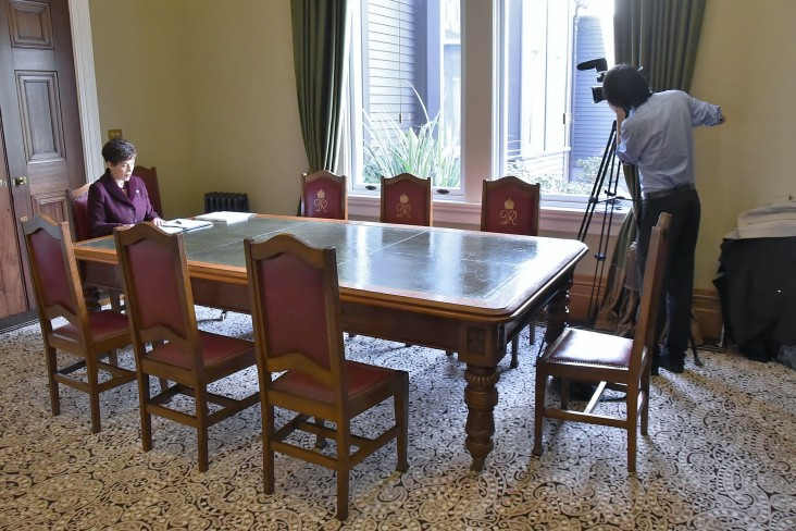 Image of Dame Patsy being filmed in the Council Room at Government House