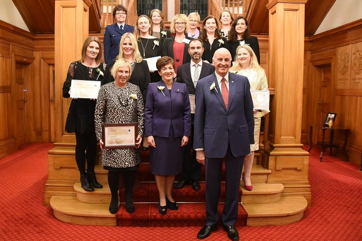 Image of Dame Patsy and Sir David with the award winners