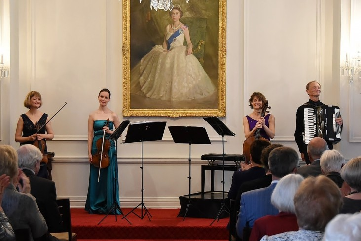 Image of the New Zealand String Quartet at the end of their performance