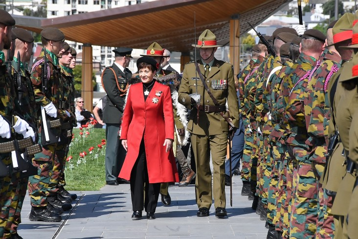 an image of Dame Patsy inspecting the Guard