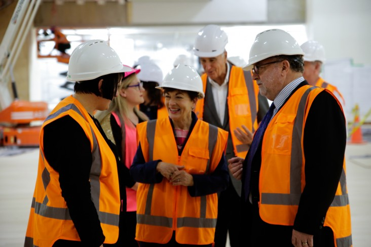 Image of Dame Patsy with Te Papa Head of Art, Charlotte Davy and Evan Williams, Chair of the Te Papa Board.