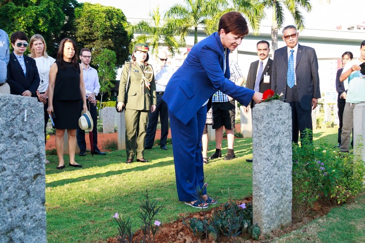 an image of Dame Patsy paying respects