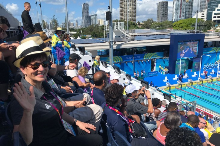 Dame Patsy poolside at the Commonwealth games on the Gold Coast