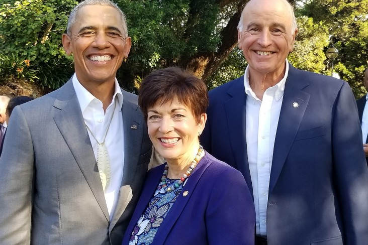 Image of Barack Obama with Dame Patsy and Sir David at Government House
