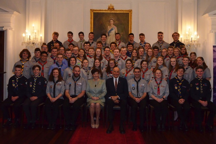 an image of Dame Patsy and Sir David with Queen's Scouts
