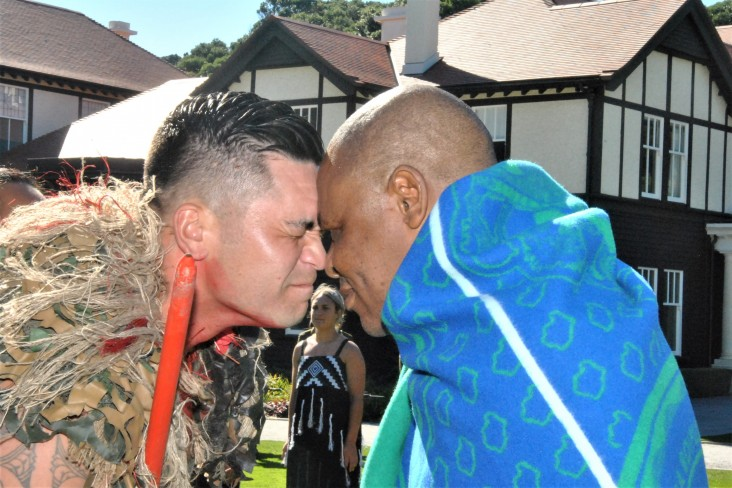 HE Major General (Rtd) Lineo Bernard Poopa greeting a member of the cultural party