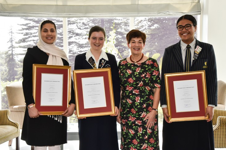 Dame Patsy with recipients Zahra Habibi, Sarah Poulter and Nellina Vaovasa