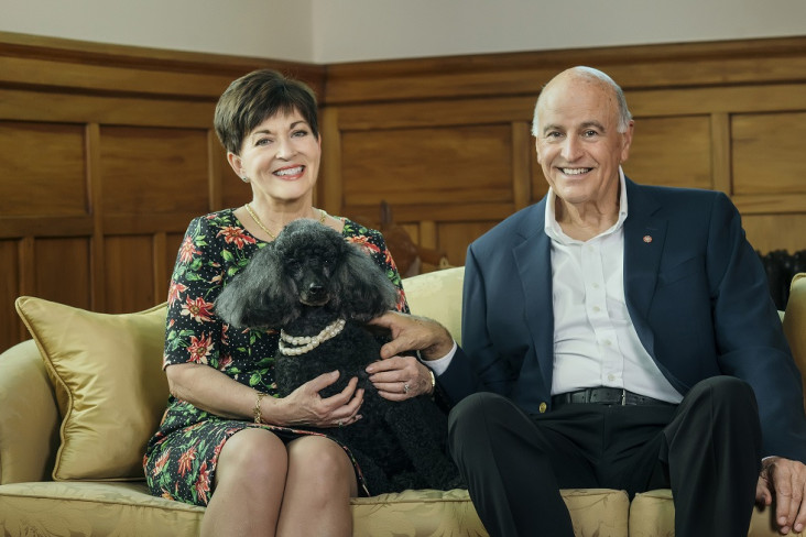 Image of Dame Patsy and Sir David with Coco