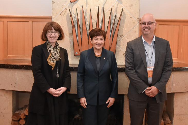 Image of Dame Patsy with Chief Electoral officer, Alicia Wright and Deputy Chief Electoral officer, Mark Lawson