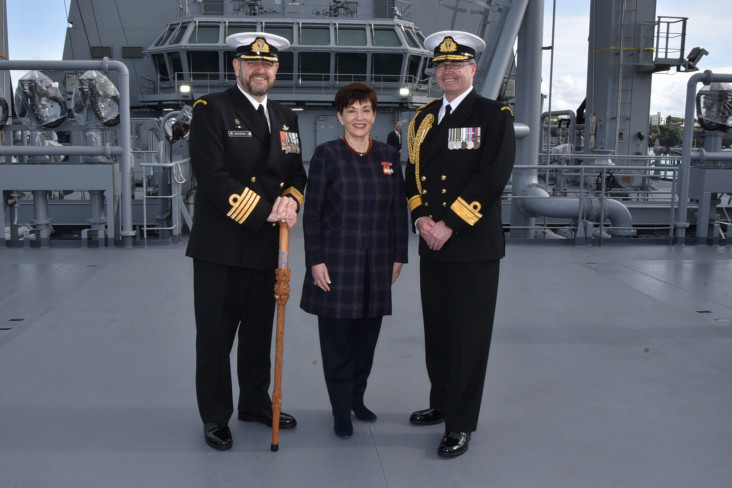 Image of Dame Patsy with HMNZS Aotearoa's Commanding Officer Captain Simon Rooke and Chief of Navy Rear Admiral David Proctor