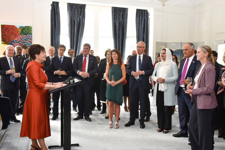 Dame Patsy speaking to members of the Diplomatic Corps