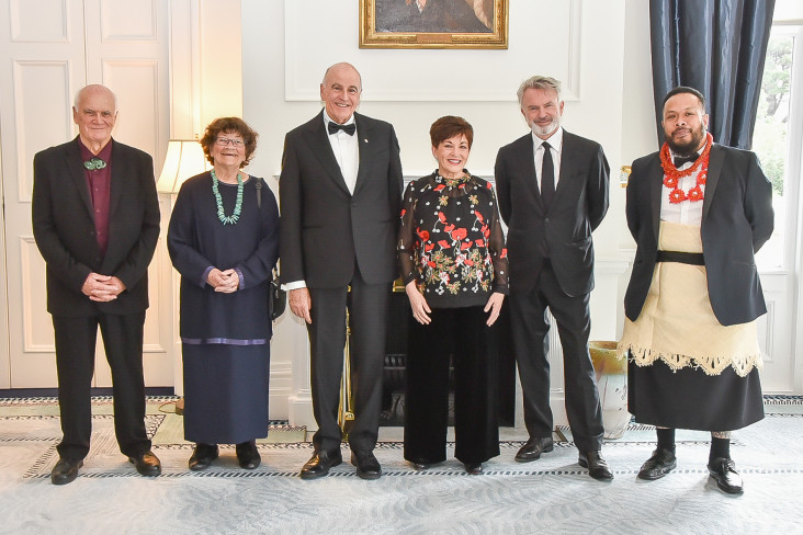 Image of Dame Patsy and Sir David with the recipients of the Whakamana Hiranga Icon Award recipients and the Harriet Friedlander Residency