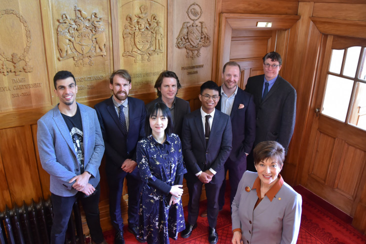 Dame Patsy Reddy and crew from Weta Workshop