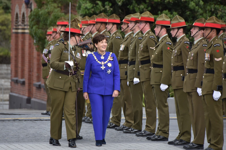 Dame Patsy with a Guard of Honour