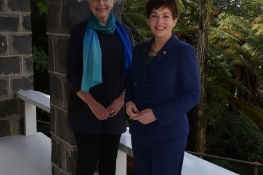 An image of Dame Patsy Reddy and Dame Silvia Cartwright at Government House Auckland
