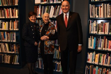 An image of Dame Patsy Reddy, Jane Goodall and Sir David Gascoigne