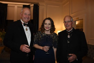 Sir Don McKinnon, ONZ, Ms Heather Wilcock, and His Eminence Cardinal Thomas Williams, ONZ.