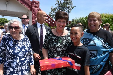 The Rt Hon Dame Patsy Reddy with Mrs Titewhai Harawira, a young well-wisher and Ms Naida Glavish.