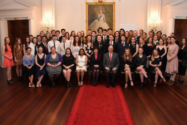 An image of Their Excellencies with Duke of Edinburgh Hillary Gold Award recipients