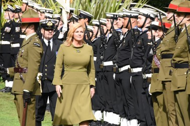 Image of President of the Republic of Croatia,Her Excellency Kolinda Grabar-Kitarovic inspecting the honour guard