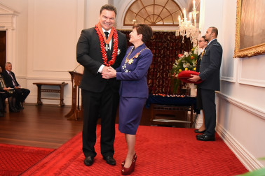 An image of Sir Michael Jones, KNZM of Auckland, for services to the Pacific community and youth.