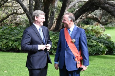 Image of The Rt Hon Bill English and the Rt Hon Sir John Key at Government House in Auckland