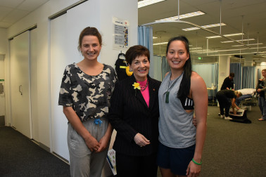 An image of Dame Patsy with Black Stick Pippa Hayward and Sevens Captain Tyla Nathan-Wong