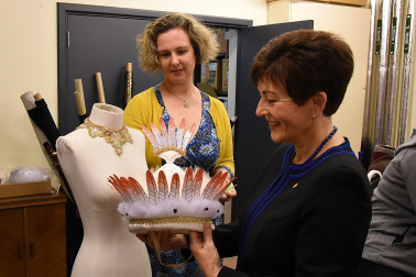 Image of Dame Patsy and RNZB Director, Marketing and Development Susannah Lees-Jefferies looking at costumes