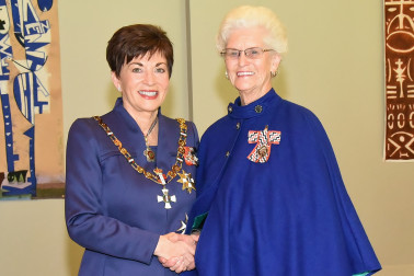 An image of Dame Patsy with Mrs Elizabeth (Charmaine) Donaldson, Matamata, QSM for services to health and seniors