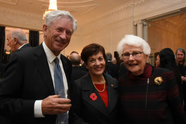An image of Dame Patsy with Hon Philip Burdon and Hon Margaret Austin
