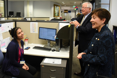 Image of Dame Patsy meeting students at the Centre for Brain Research