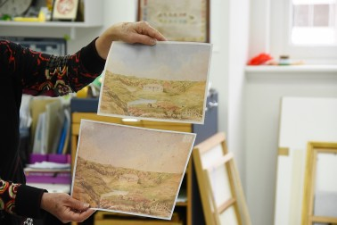 Image of before and after shots of a restored watercolour
