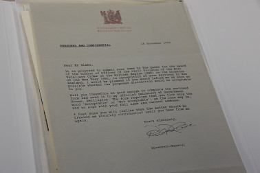Image of a letter from Government House to Peter Blake