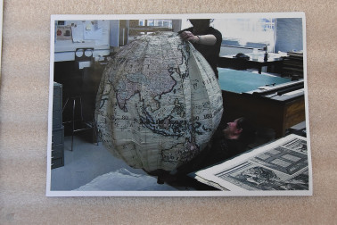 Image of a photo of the paper globe inflated