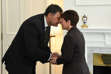 Image of HE Mr Mirza Hajric, Ambassador of Bosnia and Herzegovina hongiing with HE The Rt Hon Dame Patsy Reddy