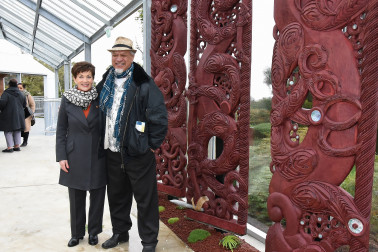 Dame Patsy with Rangikapuoho Bailey, whose carvings depict Papatuanuku, Tane Mahuta and Ranginui