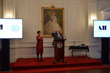 Image of a toast being made to the New Zealand Antarctic Heritage Trust from Chair, Mark Stewart and Dame Patsy