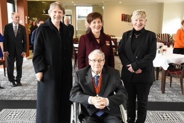 Image of Dame Patsy Reddy, Helen Clark and Lianne Dalziel with Hon Jim Anderton, CNZM
