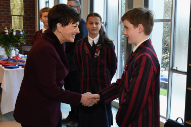 an image of Dame Patsy meeting a St Mark's student