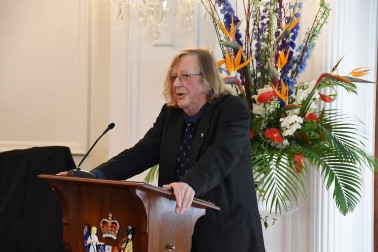 Image of Professor Gary Hawke, Chair of the New Zealand String Quartet speaking