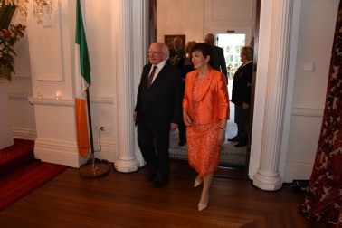 Image of Dame Patsy and Michael D. Higgins entering the ballroom for the State Dinner