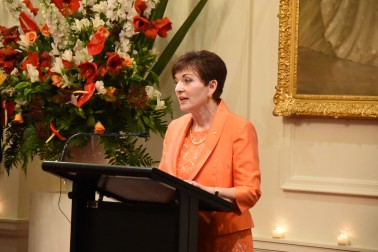 Image of Dame Patsy speaking at the State Dinner for Michael D. Higgins