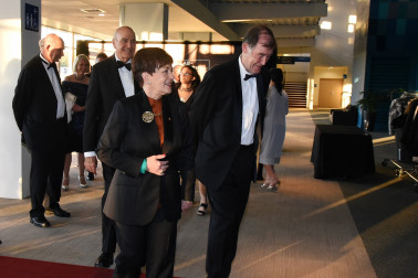 an image of Their Excellencies arriving with Professor Ross Lawrenson