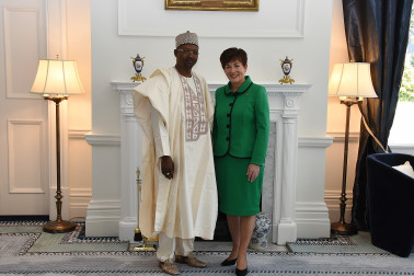 Dame Patsy with HE Mr Bello Kazaure Husseini, High Commissioner of Nigeria