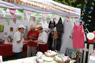 Image of Dame Patsy at the Hospice Shop stall
