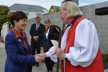 an image of Dame Patsy greeting Bishop Victoria Matthews