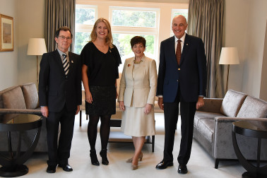 Image of Dame Patsy and Sir David with Fiona Allen and Selwyn Maister, CEO and Chair of Paralympics NZ