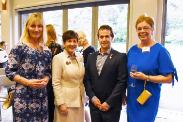 Image of Dame Patsy, 4x Paralympian Adam Hall and Lynette Evans and Penny Scown from Scholastic NZ