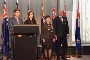 an image of Clarke Gayford, the Prime Minister, Dame Patsy and Sir David