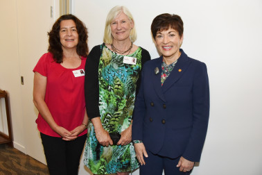 Image of Dame Patsy with two of the Tui House staff, Liana Meredith and Prue Fitzherbert
